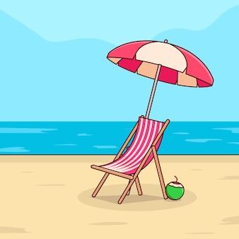 Chaise avec parasol et noix de coco au bord de la plage dans un design d'été