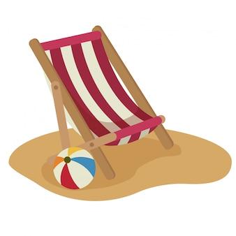 Chaise de plage et ballon