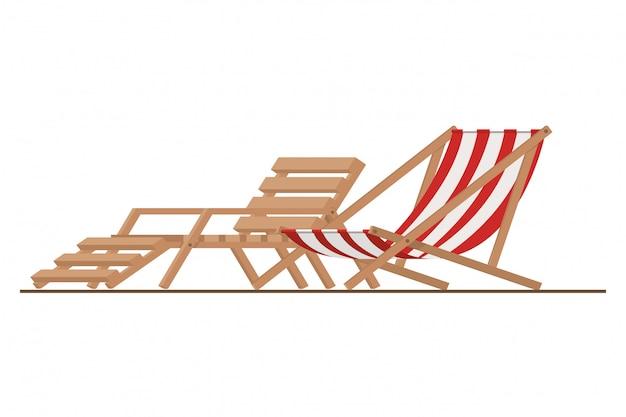 Chaise de plage pour bronzer sur blanc
