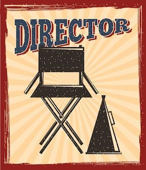 Chaise de réalisateur de film et affiche de haut-parleur de mégaphone