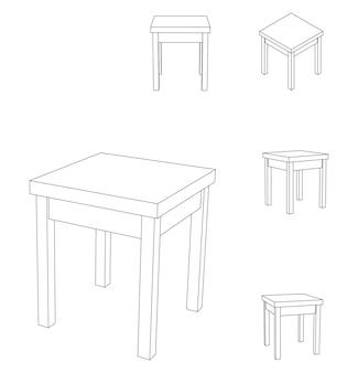 Chaise de tabouret carré en bois de vecteur, illustration de contour avec différentes vues
