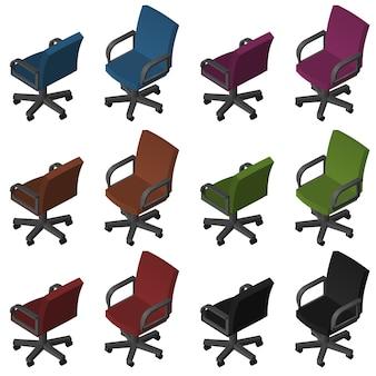 Chaises de bureau isométriques
