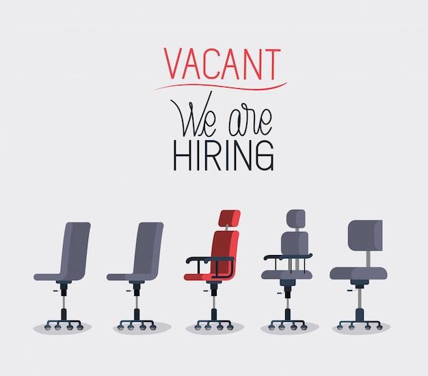 Chaises de bureau avec message d'embauche