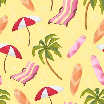 Chaises longues d'équipement de plage, palmier, planche, parapluie, modèle sans couture