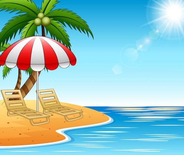 Chaises longues de vacances d'été sur un magnifique paysage marin