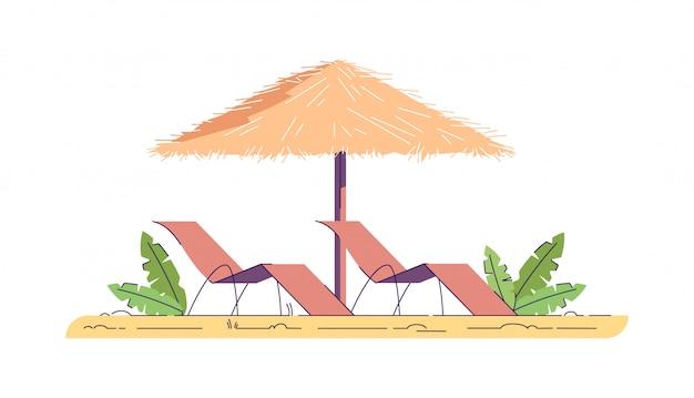 Chaises avec parapluie illustration couleur rvb semi-plat. loisirs d'été dans une station balnéaire tropicale. détente à hawaï. voyage de détente. activité de plage objets de dessin animé isolés sur fond blanc