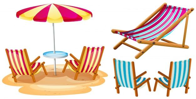 Les chaises de plage et parasol