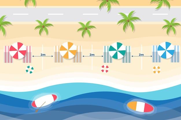 Chaises de plage et parasols à distance sociale