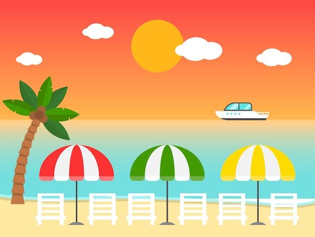 Chaises de plage et parasols sur l'illustration de la plage au coucher du soleil