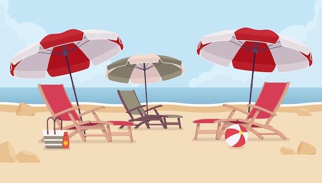 Chaises de plage de vacances à la mer