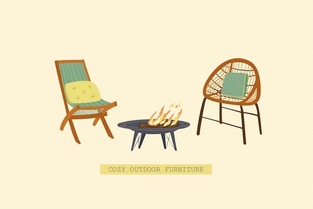Chaises pour jardin et feu