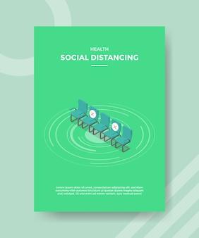 Chaises de rangée de distance sociale de santé avec signe de croix pour flyer modèle et couverture de bannière imprimée isométrique