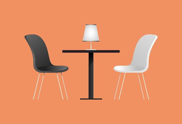 Chaises et table noires et blanches au café. illustration vectorielle avec des éléments de mobilier pour un intérieur de café. style plat