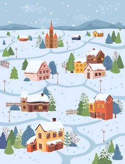 Chalets et arbres de paysage de village rural de noël dans les montagnes de vecteur de conception de dessin animé plat de neige