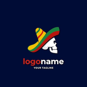 Chaleur sombrero mexicain avec style dégradé logo crâne pour entreprise de voyage