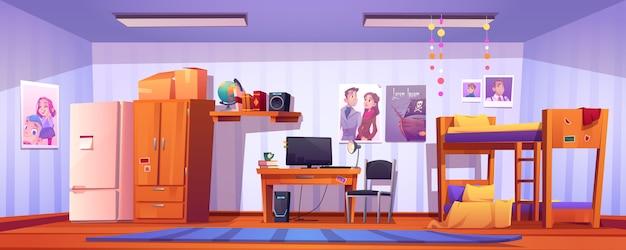 Chambre d'auberge, chambre d'étudiant en dortoir