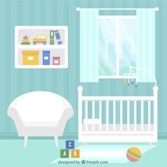 Chambre de bébé bleu avec des meubles blancs