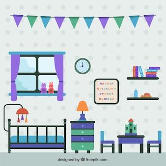 Chambre de bébé colorful en design plat