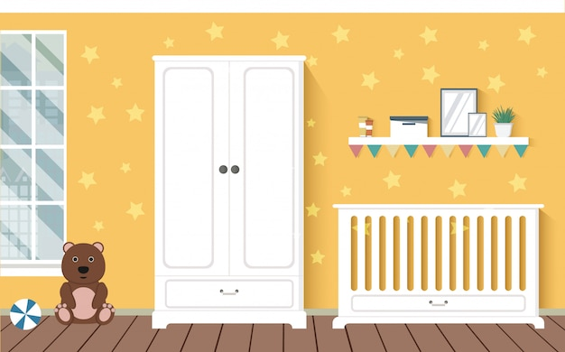 Chambre de bébé orange vif avec des meubles