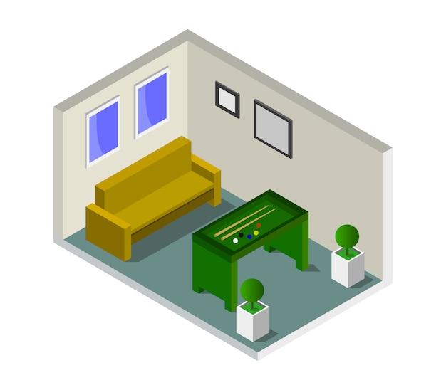 Chambre avec billard isométrique