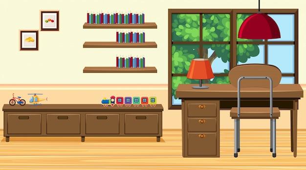 Chambre avec bureau et autres meubles en bois