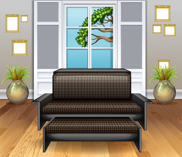 Chambre avec canapé marron sur plancher en bois