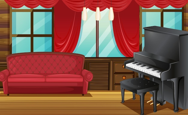 Chambre avec canapé rouge et piano