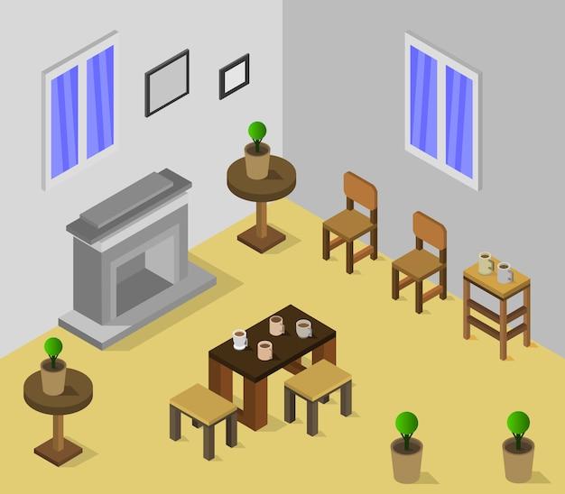 Chambre avec cheminée isométrique