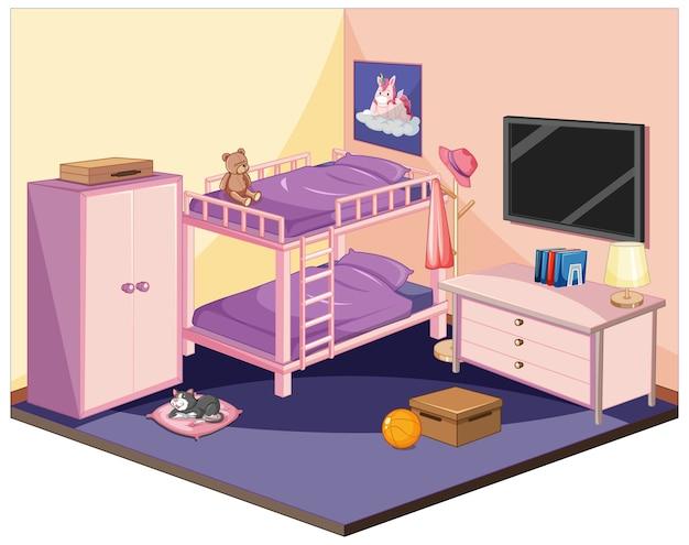 Chambre à coucher en thème de couleur rose isométrique