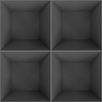 Chambre divisée sur quatre vues en perspective de face.