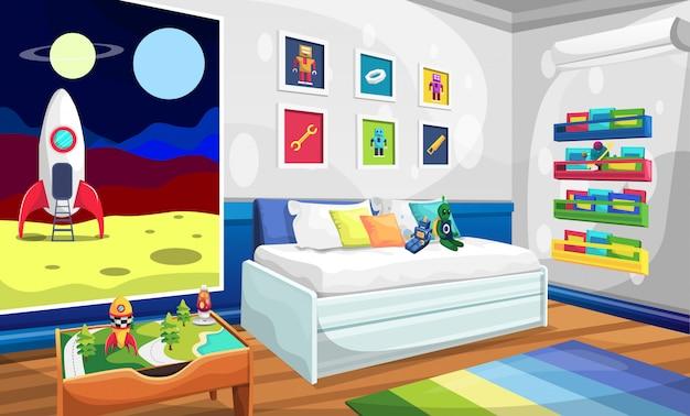 Chambre d'enfants avec canapé relaxant, photo de l'espace fusée, photo murale robot alien, livres et table
