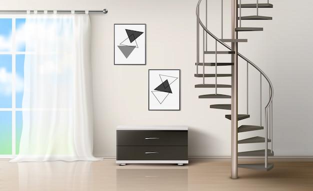 Chambre avec escalier en colimaçon