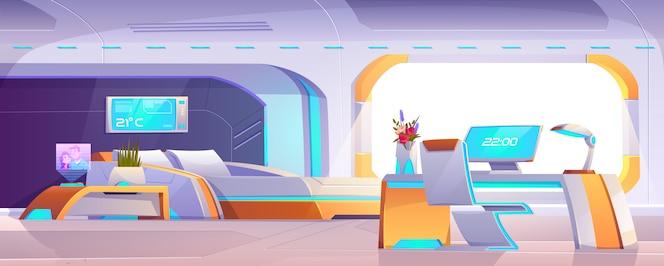 Chambre futuriste avec mobilier, appartement vide ou intérieur de vaisseau spatial