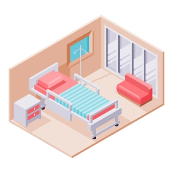 Chambre d'hôpital isométrique créative illustrée