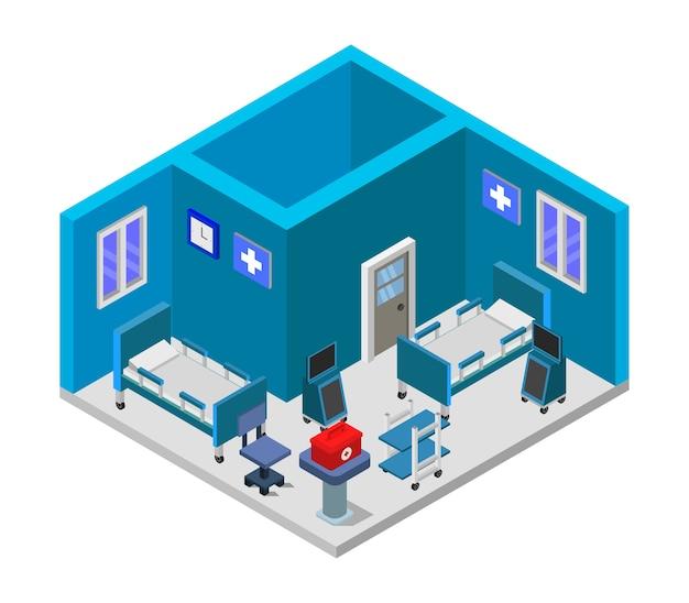 Chambre d'hôpital isométrique