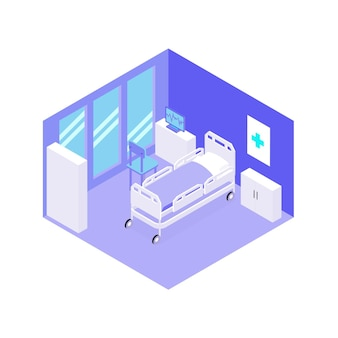 Chambre d'hôpital avec vue isométrique de l'équipement