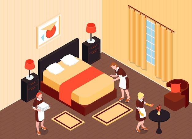 Chambre d'hôtel isométrique avec femmes de ménage et nettoyeur préparant l'appartement de l'hôtel pour l'illustration du règlement