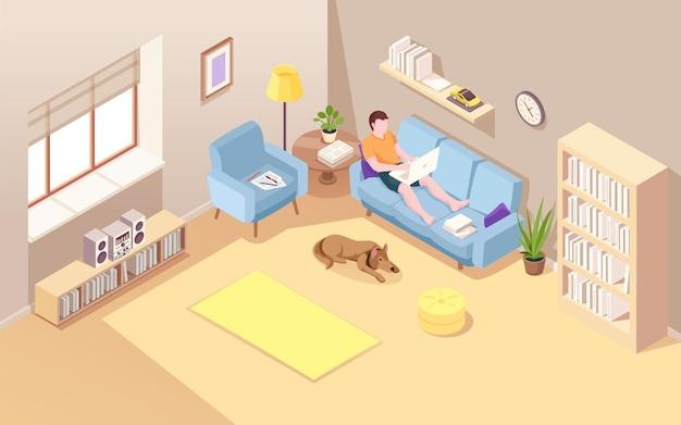 Chambre isométrique avec homme assis sur un canapé et faisant un travail à distance à l'aide d'un ordinateur portable vecteur garçon avec ordinateur portable