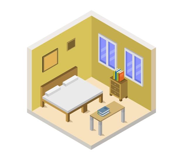 Chambre isométrique avec lit