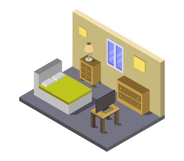 Chambre avec lit isométrique