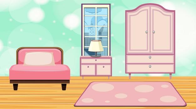 Chambre avec lit rose et placard