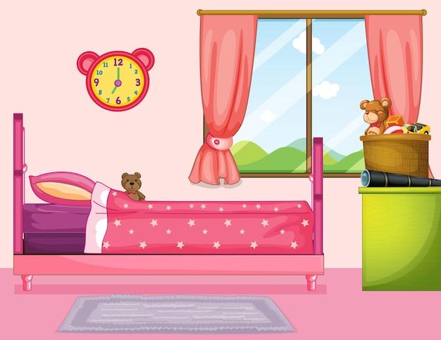 Chambre avec lit rose et rideau