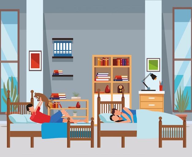 Chambre à lits jumeaux et couple coodle