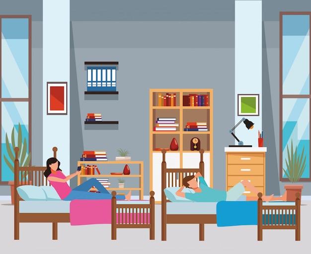 Chambre à lits jumeaux et personnes sans visage
