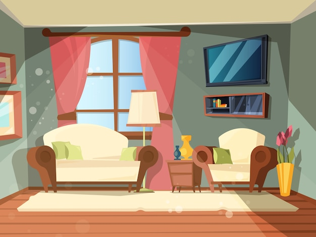 Chambre de luxe. intérieur premium du salon avec des illustrations de dessin animé parfaites de vieux meubles en bois