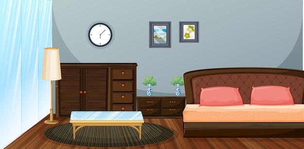 Chambre avec meubles en bois