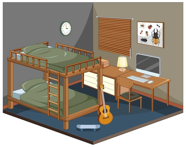 Chambre avec meubles isométrique