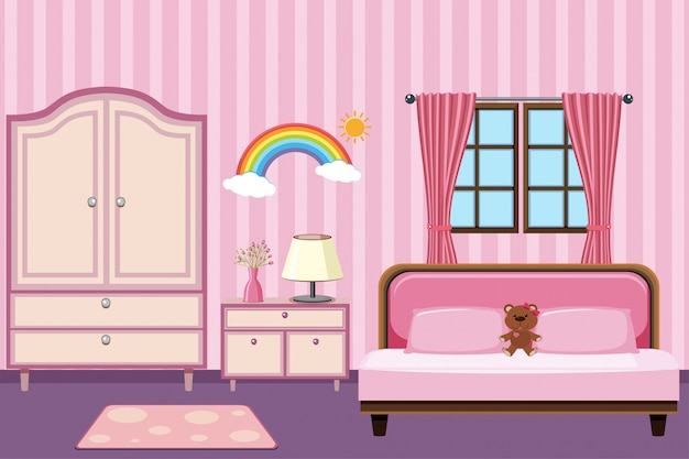Chambre avec mobilier rose