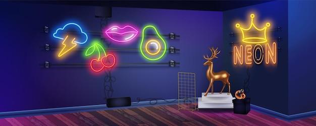 Chambre néon bleu vif avec néons. toile de fond rétro des années 80 avec des murs colorés. chambre de garçon de joueur sur la bannière intérieure du grenier.