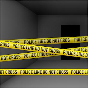 Chambre noire avec du ruban adhésif de danger